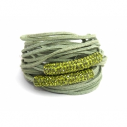Green Alcantara Wrap Bracelet For Woman With Strass