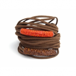 Dark Brown Alcantara Wrap Bracelet For Woman With Strass