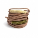 Light Brown Alcantara Wrap Bracelet For Woman With Strass