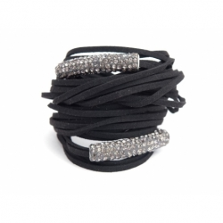 Black Alcantara Wrap Bracelet For Woman With Strass