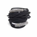 Black Alcantara Wrap Bracelet For Woman With Strass