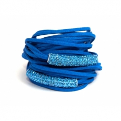 Blue Alcantara Wrap Bracelet For Woman With Strass