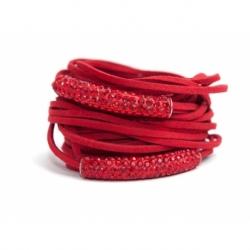 Bracciale donna alcantara rosso