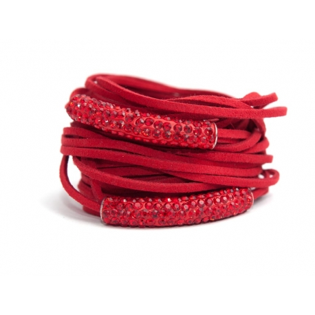 Red Alcantara Wrap Bracelet For Woman With Strass